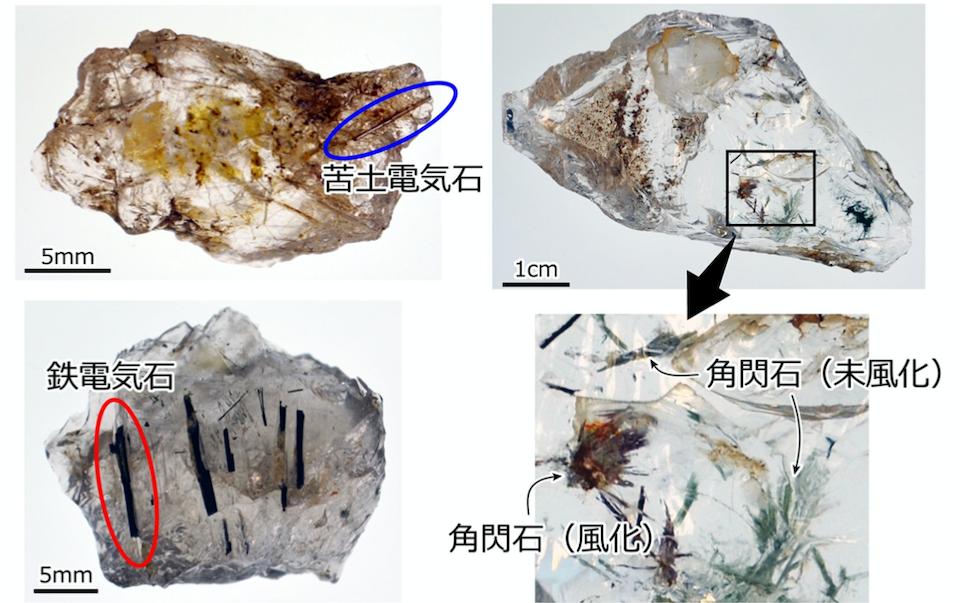 水晶石器中の針状固相包有物